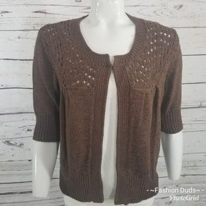 ⚡ August Silk Brown Lace Open Front Sweater L